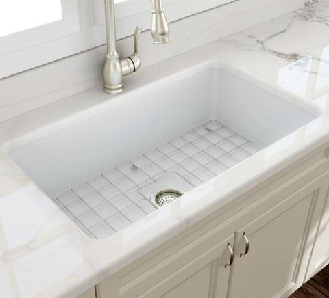 Bocchi Sotto 32 Matte White Fireclay Single Bowl Undermount Kitchen Sink w/Grid-Annie & Oak