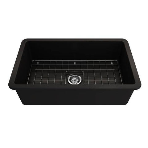 Bocchi Sotto 32 Matte Black Fireclay Single Bowl Undermount Kitchen Sink w/Grid - Annie & Oak