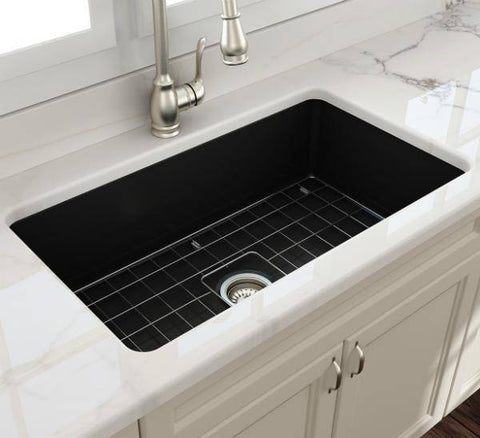 Bocchi Sotto 32 Matte Black Fireclay Single Bowl Undermount Kitchen Sink w/Grid-Annie & Oak
