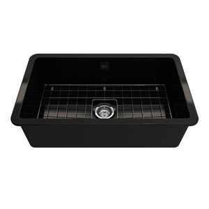Bocchi Sotto 32 Black Fireclay Single Bowl Undermount Kitchen Sink w/Grid - Annie & Oak
