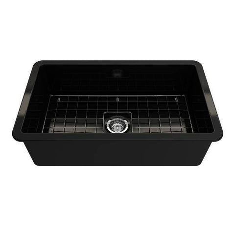Image of Bocchi Sotto 32 Black Fireclay Single Bowl Undermount Kitchen Sink w/Grid - Annie & Oak
