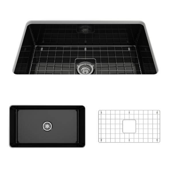 Bocchi Sotto 32 Black Fireclay Single Bowl Undermount Kitchen Sink w/Grid-Annie & Oak