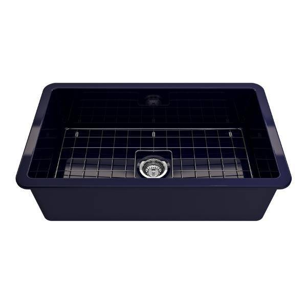 Bocchi Sotto 32 Blue Fireclay Single Bowl Undermount Kitchen Sink w/Grid-Annie & Oak