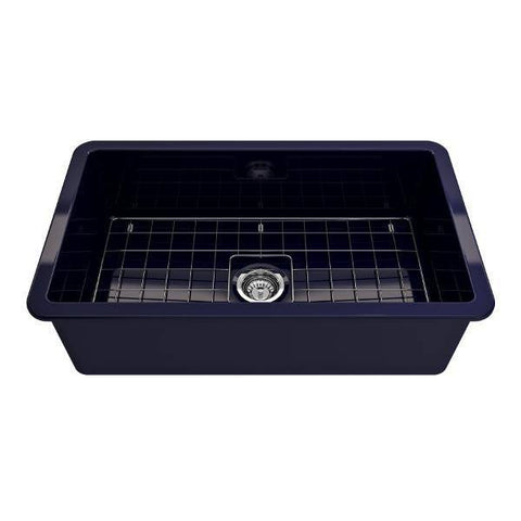 Bocchi Sotto 32 Blue Fireclay Single Bowl Undermount Kitchen Sink w/Grid - Annie & Oak