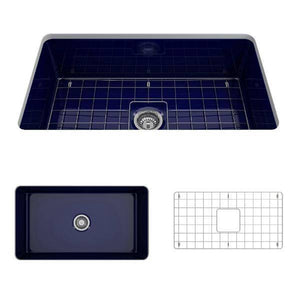 Bocchi Sotto 32 Blue Fireclay Single Bowl Undermount Kitchen Sink w/Grid