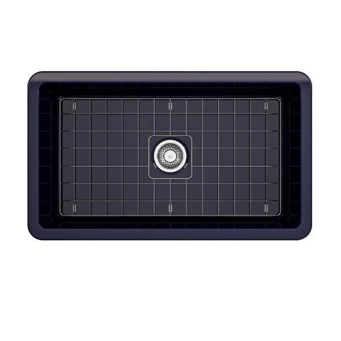 Image of Bocchi Sotto 32 Blue Fireclay Single Bowl Undermount Kitchen Sink w/Grid-Annie & Oak