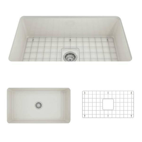 Bocchi Sotto 32 Biscuit Fireclay Single Bowl Undermount Kitchen Sink w/Grid-Annie & Oak