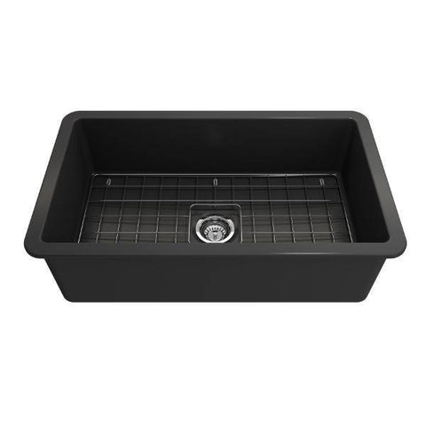Bocchi Sotto 32 Dark Gray Fireclay Single Bowl Undermount Kitchen Sink w/Grid-Annie & Oak