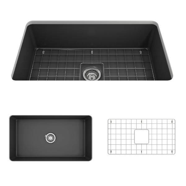 Bocchi Sotto 32 Dark Gray Fireclay Single Bowl Undermount Kitchen Sink w/Grid - Annie & Oak
