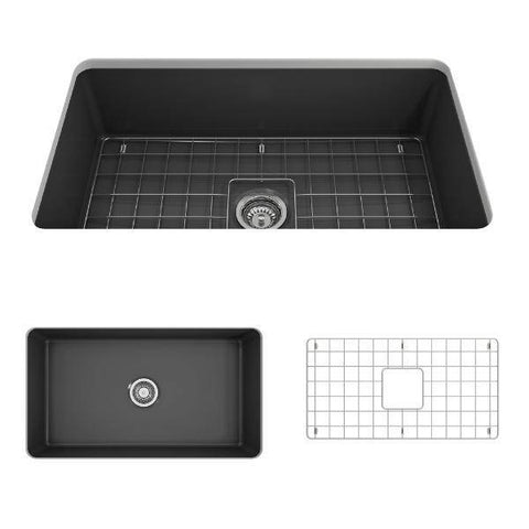 Image of Bocchi Sotto 32 Dark Gray Fireclay Single Bowl Undermount Kitchen Sink w/Grid-Annie & Oak