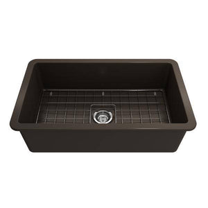 Bocchi Sotto 32 Brown Fireclay Single Bowl Undermount Kitchen Sink w/Grid - Annie & Oak