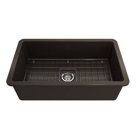 Bocchi Sotto 32 Brown Fireclay Single Bowl Undermount Kitchen Sink w/Grid-Annie & Oak