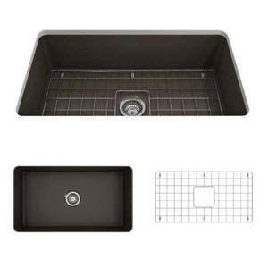 Bocchi Sotto 32 Brown Fireclay Single Bowl Undermount Kitchen Sink w/Grid