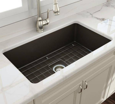 Bocchi Sotto 32 Fireclay Undermount Kitchen Sink Single Bowl w/Grid-Annie & Oak