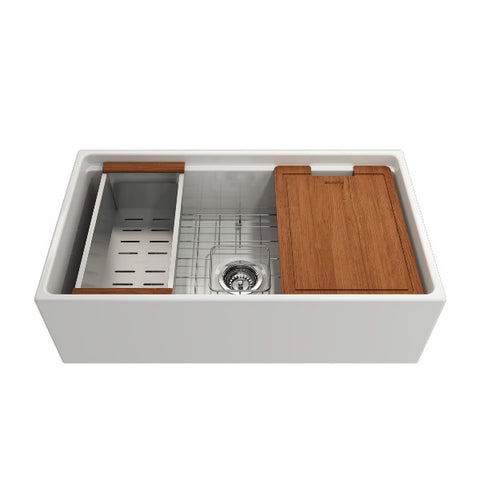 "Image of Bocchi Contempo 33"" White Single Bowl Fireclay Farmhouse Sink w/ Integrated Work Station"