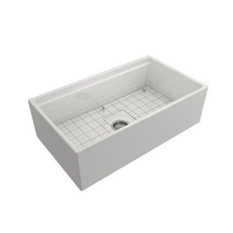 "Bocchi Contempo 33"" White Single Bowl Fireclay Farmhouse Sink w/ Integrated Work Station"