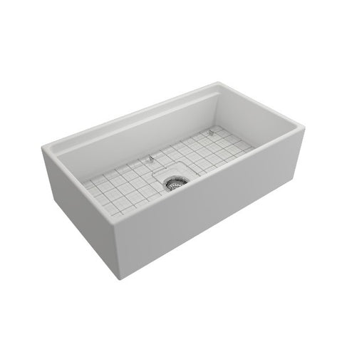 "Bocchi Contempo 33"" Matte White Single Bowl Fireclay Farmhouse Sink w/ Integrated Work Station"
