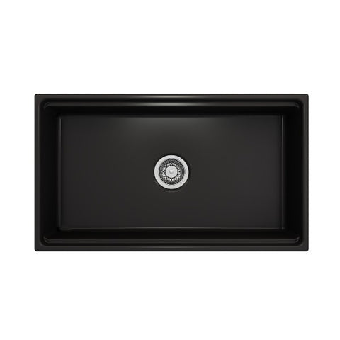 "Bocchi Contempo 33"" Matte Black Single Bowl Fireclay Farmhouse w/ Integrated Work Station"