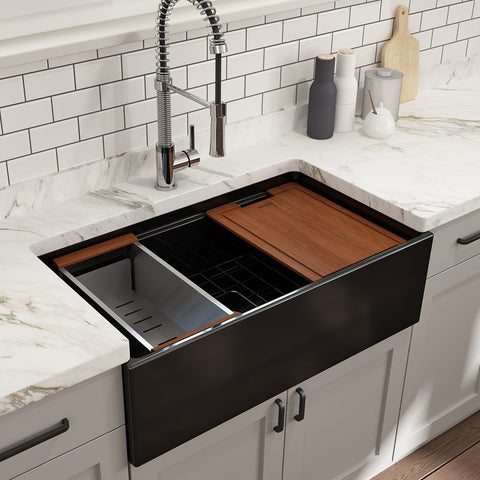 "Bocchi Contempo 33"" Black Single Bowl Fireclay Farmhouse Sink w/ Integrated Work Station"