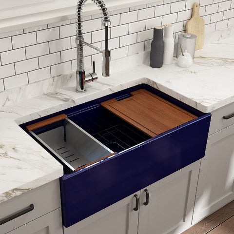 "Bocchi Contempo 33"" Blue Single Bowl Fireclay Farmhouse Sink w/ Integrated Work Station"