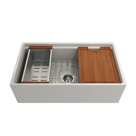 "Bocchi Contempo 33"" Biscuit Single Bowl Fireclay Farmhouse Sink w/ Integrated Work Station"