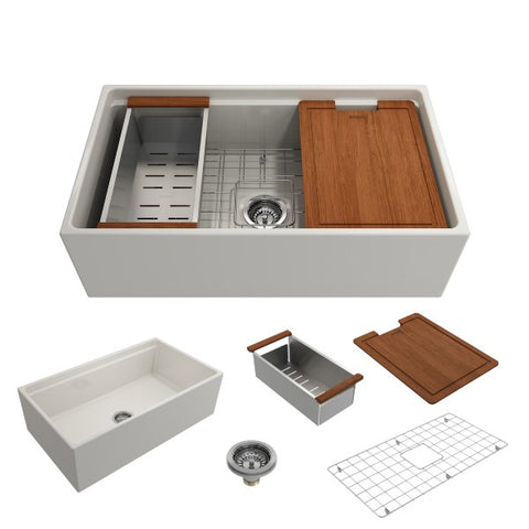 "Image of Bocchi Contempo 33"" Biscuit Single Bowl Fireclay Farmhouse Sink w/ Integrated Work Station"