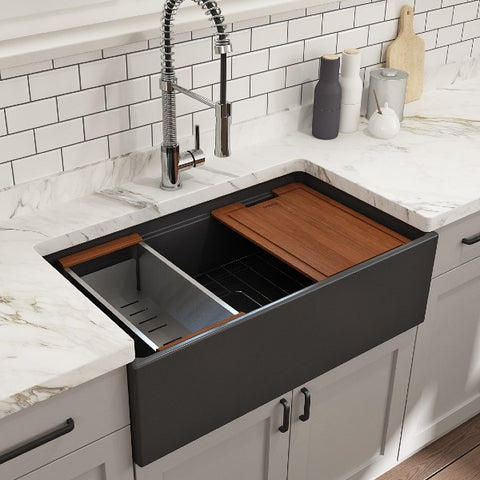 "Bocchi Contempo 33"" Dark Gray Single Bowl Fireclay Farmhouse Sink w/ Integrated Work Station"
