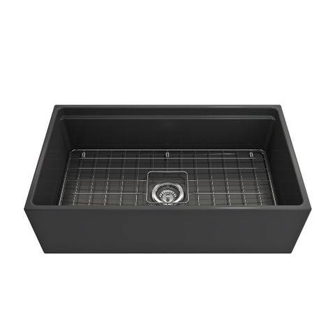 "Image of Bocchi Contempo 33"" Dark Gray Single Bowl Fireclay Farmhouse Sink w/ Integrated Work Station"