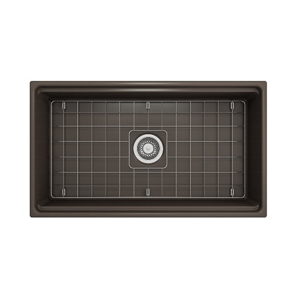 "Bocchi Contempo 33"" Matte Brown Single Bowl Fireclay Farmhouse Sink w/ Integrated Work Station"