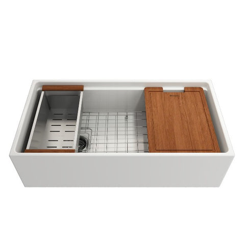 "Bocchi Contempo 36"" White Single Bowl Fireclay Farmhouse Sink w/ Integrated Work Station"