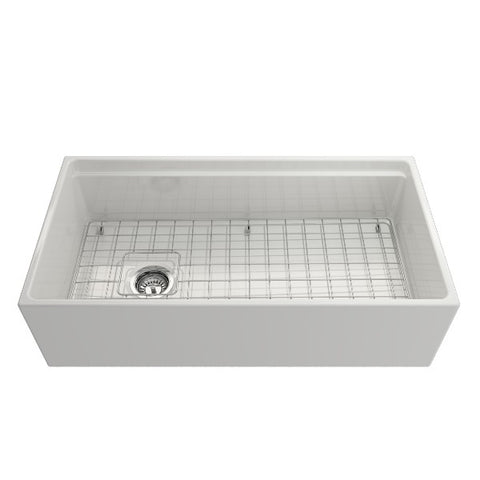 "Image of Bocchi Contempo 36"" White Single Bowl Fireclay Farmhouse Sink w/ Integrated Work Station"
