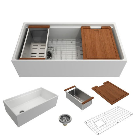 "Bocchi Contempo 36"" Matte White Single Bowl Fireclay Farmhouse Sink w/ Integrated Work Station"