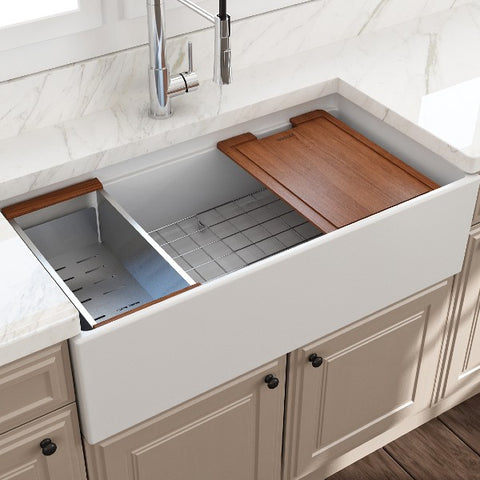 "Image of Bocchi Contempo 36"" Matte White Single Bowl Fireclay Farmhouse Sink w/ Integrated Work Station"