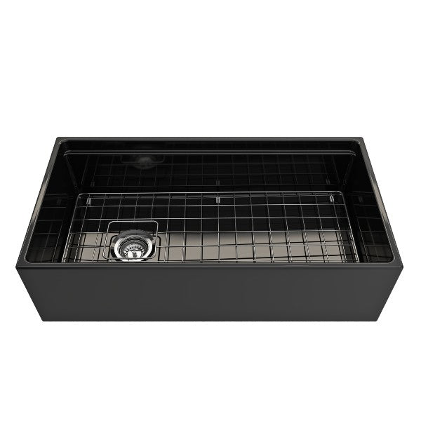 "Bocchi Contempo 36"" Black Single Bowl Fireclay Farmhouse Sink w/ Integrated Work Station"