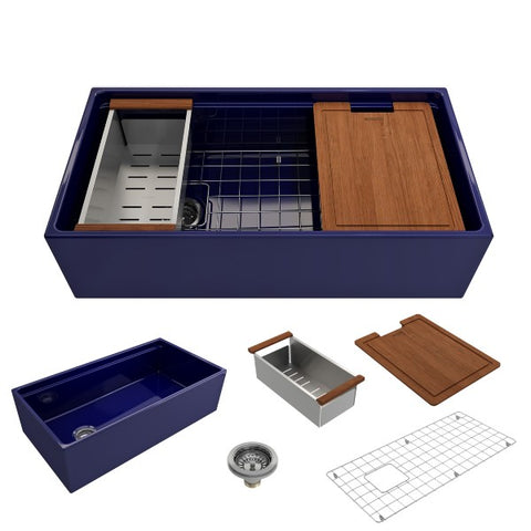 "Image of Bocchi Contempo 36"" Blue Single Bowl Fireclay Farmhouse Sink w/ Integrated Work Station"