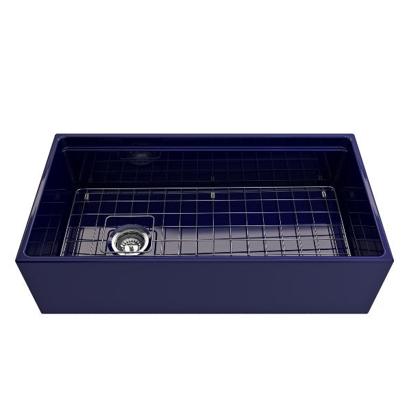 "Bocchi Contempo 36"" Blue Single Bowl Fireclay Farmhouse Sink w/ Integrated Work Station"