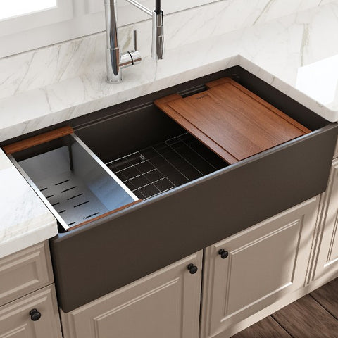 "Image of Bocchi Contempo 36"" Brown Single Bowl Fireclay Farmhouse Sink w/ Integrated Work Station"