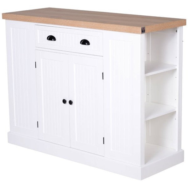 "HOMCOM 47"" White Fluted-Style Wooden Kitchen Island Storage Cabinet with Drawer"