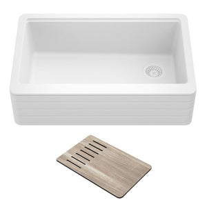 "Kraus Bellucci KGF11-33WH 33"" White Single Bowl Granite Composite  Farmhouse Sink"