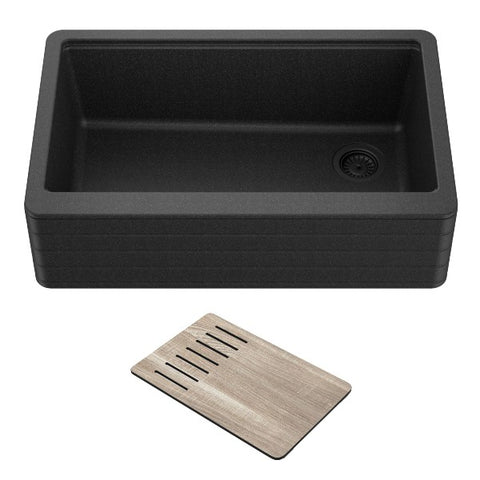 "Kraus Bellucci KGF12-30MBL 30"" Black Single Bowl Granite Composite Farmhouse Sink"