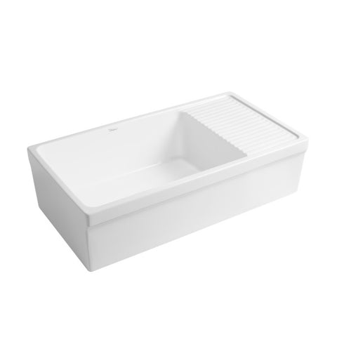 "Whitehaus Vintage WHQD540 36"" White Single Bowl Fireclay Farmhouse Sink w/ Drainboard-Annie & Oak"