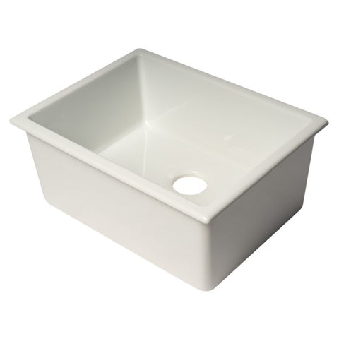 "Alfi Brand AB2418UD 24"" White Single Bowl Fireclay Undermount Sink - Annie & Oak"