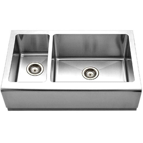 "Houzer Epicure EPO-3370SL 32"" Stainless Steel Double Bowl Farmhouse Sink - Annie & Oak"