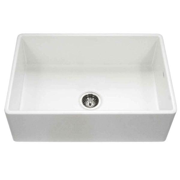 "Houzer Platus PTS-4100-WH 30"" White Single Bowl Fireclay Farmhouse Sink - Annie & Oak"