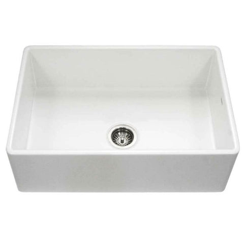 "Houzer Platus PTG-4300-WH 33"" White Single Bowl Fireclay Farmhouse Sink - Annie & Oak"