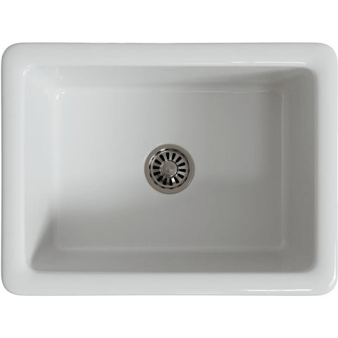 "Image of Latoscana LNR2418W 24"" White Apron Fireclay Farmhouse Sink with Thick Walls - Annie & Oak"