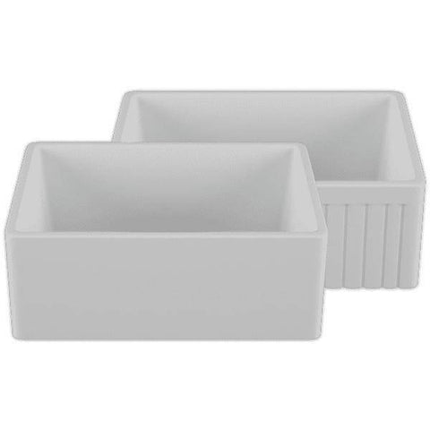 Image of 24 Fireclay Farmhouse Sink White Reversible Single Bowl Crestwood - Annie & Oak