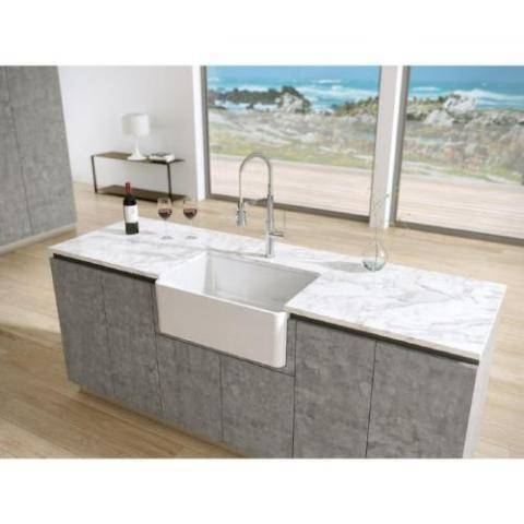 "Image of 27"" Apron Fireclay Farmhouse Sink with Reversible Design in White - LTW2718W-Annie & Oak"