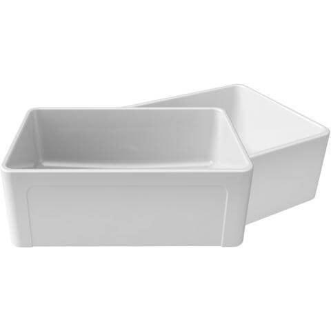 "27"" Apron Fireclay Farmhouse Sink with Reversible Design in White - LTW2718W-Kitchen Sink-LaToscana-Annie & Oak"
