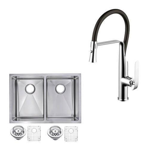 "Water Creation CF511-UD-2920B 29"" Double Bowl Stainless Steel Undermount Sink - Annie & Oak"